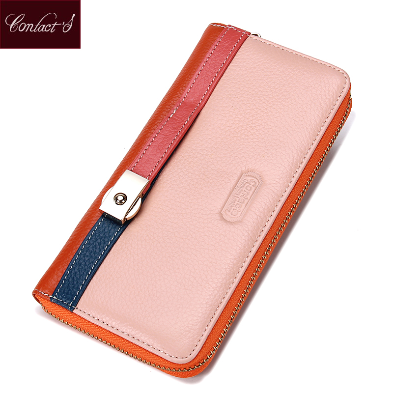 Hot Sale!!!Brand Design Genuine Leather Women Wallet Ladies Zip-around Leather Wallet Female Fashion Patchwork Clutch Wallets