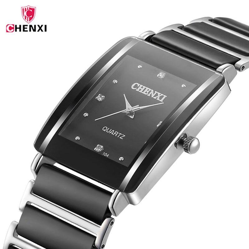 CHENXI Marca de Topo de Luxo Preto de Cerâmica Mens Relógios de Diamantes Decoração À Prova D' Água Homens Relógio de Pulso de Quartzo Relógio reloj hombre 40