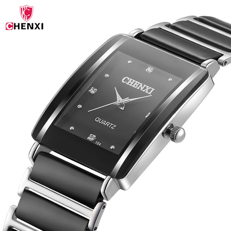 CHENXI Top Brand Luxury Black Ceramic Mens Watches Diamonds Decoration Waterproof Quartz Wrist Watch Men Clock Reloj Hombre 40