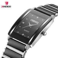 Relojes para hombre de cerámica negra de lujo marca superior de CHENXI relojes de pulsera de cuarzo resistentes al agua de decoración de diamantes reloj para hombre 40