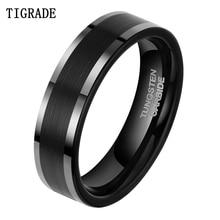 цены 6Mm Tungsten black polished sliver Beveled ring Engagement Men Wedding Band Ring