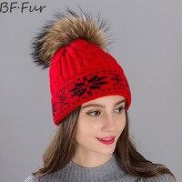 BFFUR שחור נדל דביבון פרווה כובעי ימס כובעי החורף חמים נשים צבע טבעי סתיו בעלי החיים Pompom פתית שלג כובע סרוג