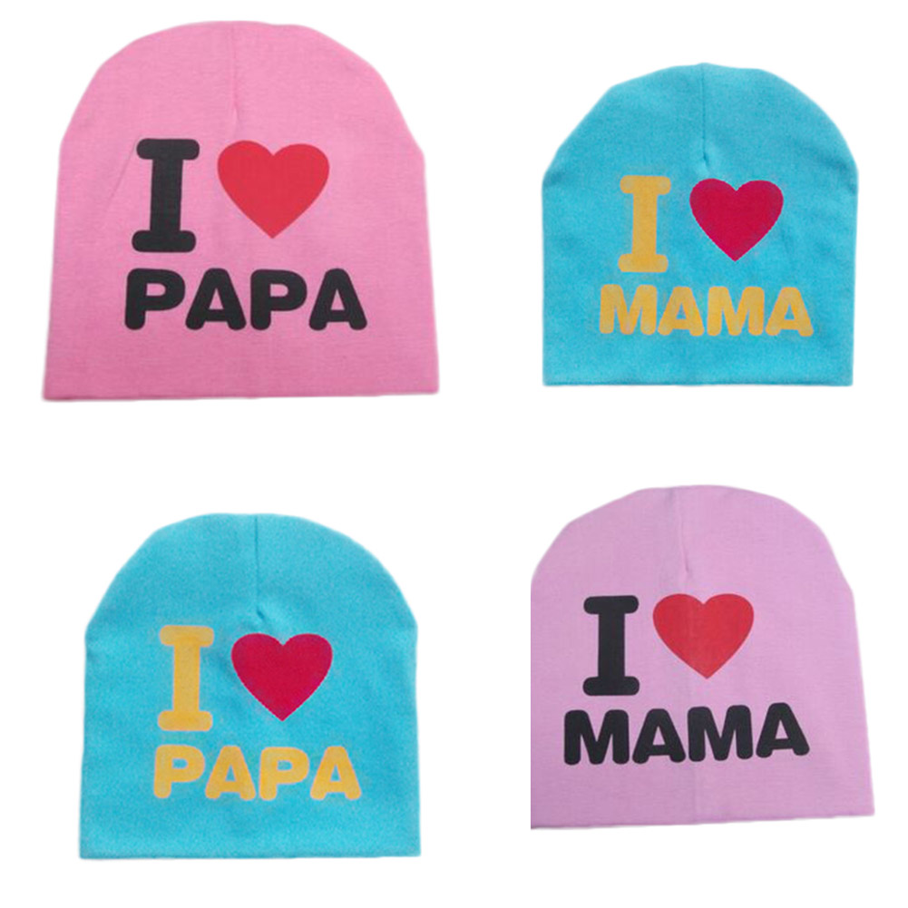 I LOVE PAPA MAMA Print Baby Hats Spring Autumn Baby Knitted Warm Cotton  Beanie Hat For Toddler Baby Kids Girl Boy-in Hats   Caps from Mother   Kids  on ... 841442e48ad0