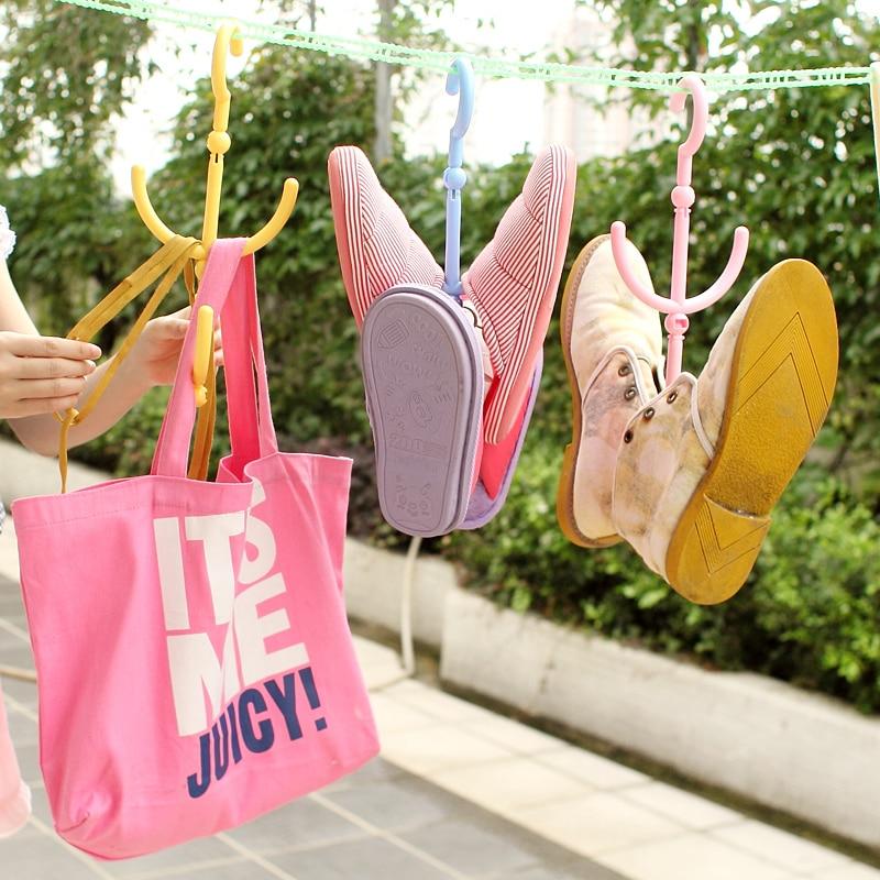 Portable multi-purpose small underwear socks racks windproof rack hanging shoe rack