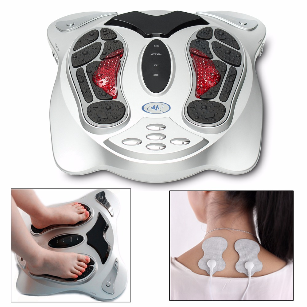 Electric Foot Massager Far Infrared Heating Acupuncture Points Reflexology Feet Massage Machine Slimming Belt Pads for Body Care electric foot massager foot massage machine for health care personal air pressure shiatsu infrared feet massager with heat 50030