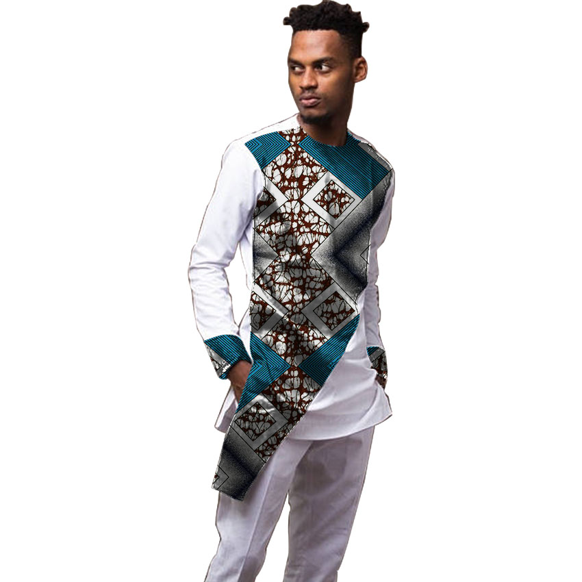 Custom dashiki clothes men t shirt long sleeve african print tops print and white cotton ...