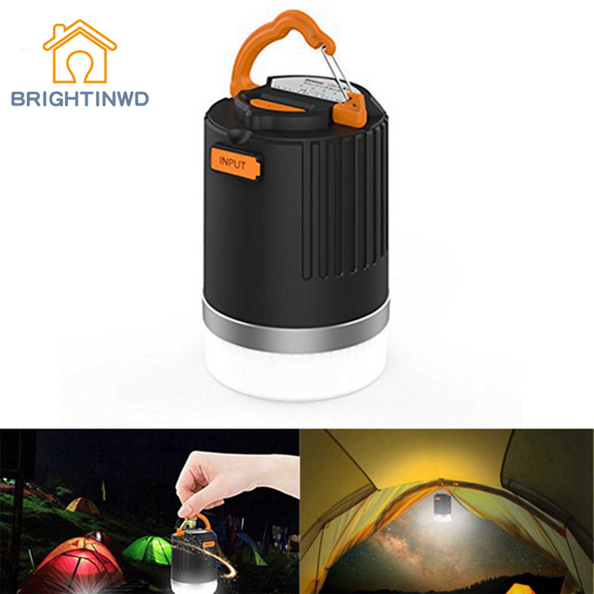 BRIGHTINWD Portable Outdoor Camping Lantern USB Rechargeable LED Light With 10400mAh Power Bank For Phone Charging Tent Lanterns