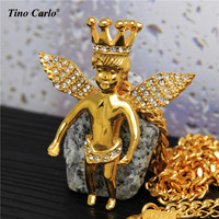 של מכירת חמה גברים שרשרת פלדת 316L זהב אייס מתוך מלאך כנף מלאך כתר מלך של Hiphop שרשרת תליון יוקרה בוי JL1102
