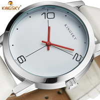 Women Watch KINGSKY Luxury Top Brand Casual Business Watch Men Clock Leather White Simple Fashion Watch