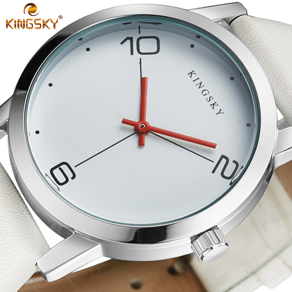 Women Watch KINGSKY Luxury Top Brand Casual Business Watch Men Clock Leather White Simple Fashion Watch Ladies Relogio Feminino longbo brand genuine leather lovers quartz watch simple style women men casual watch waterproof relogio masculine feminino clock