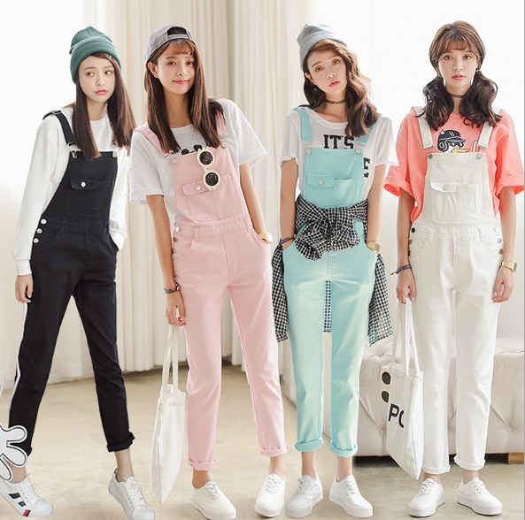 Black White Pink Green Candy Color Women Jumpsuit Slim Moveable Strap Rompers Casual Denim Overalls Big Pockets Jeans Pants