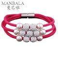 MANBALA Mujeres Niñas Joyería de Moda Lucky Cierre Magnético Pulseras con cuentas de Perlas de Imitación de Múltiples Capas de Los Brazaletes # H00AO05