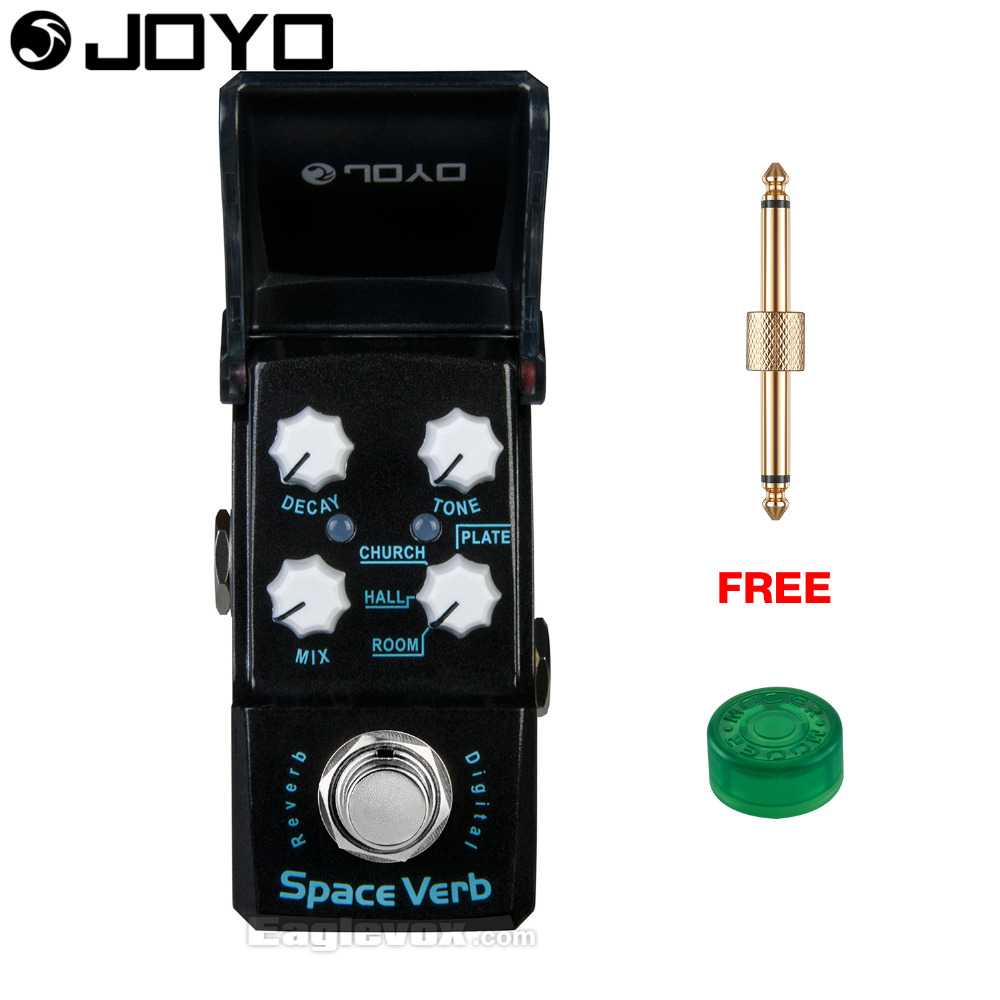 Joyo Ironman Space Verb Digital Reverb Guitar Effect Pedal True Bypass JF-317 with Free Connector and Footswitch Topper joyo jf 317 space verb digital reverb mini electric guitar effect pedal with knob guard true bypass
