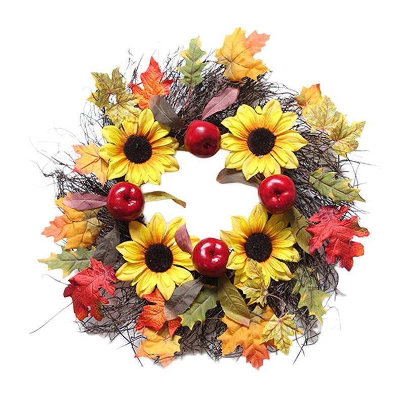 60 см ягодные осенние кленовые листья венок гирлянда искусственный цветок Хэллоуин День благодарения домашнее осеннее украшение