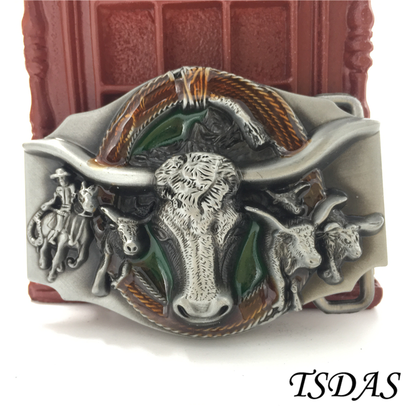 Cool Knight Bullfighting Belt Buckle Silver Metal Belt Buckle Texas Fashion Mens Western Turbo Nos Tunning Suitable For 4cm Belt