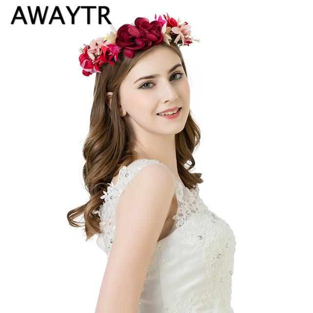 New Hair Flower Accessories Wedding European Style Vintage Bride Flower Garland Floral Head Band Handmade Wreaths Crowns