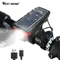 WEST BIKING Solar Power Bike Light Waterproof 350 Lumen Bicycle Bell Light LED USB Rechargeable Lamp