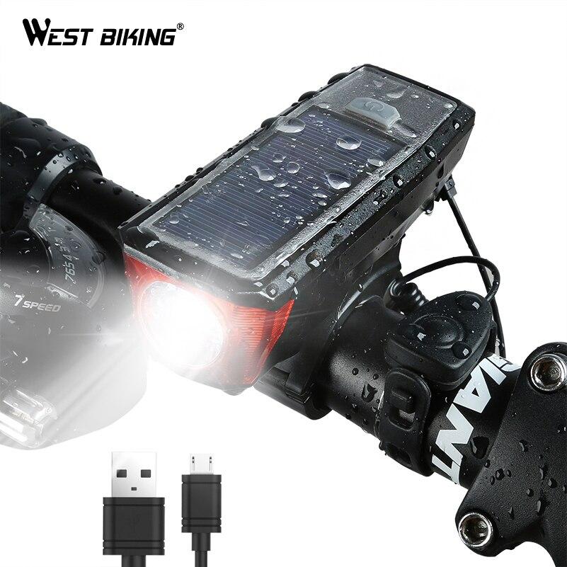 WEST RADFAHREN Solar Power Fahrrad Licht Wasserdichte 350 Lumen Fahrrad Glocke Licht LED USB Aufladbare Lampe Front Scheinwerfer Fahrrad Licht