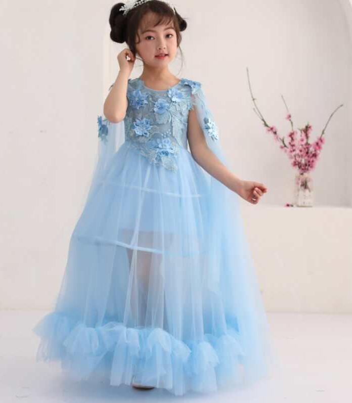 Retail 2018 High-end Girls Bule Lace Flower Girl Dresses Weddings Kids Evening Dress Holy Communion Pageant Gowns Dress X3300 hp x3300