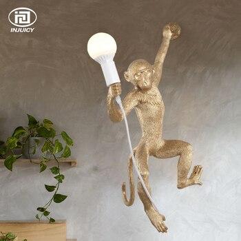 Vintage Or Résine Chanvre Corde Singe Pendentif Lumières Industriel Rétro E27 Lampe De Table Applique Murale Pour Salle à Manger Café Restaurant
