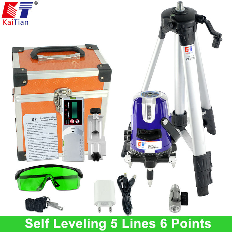 цены  KaiTian Green Laser Level with Outdoor Tripod Tilt Function 360 Rotary Self Leveling 532nm 5 Lines Vertical & Horizontal Lasers