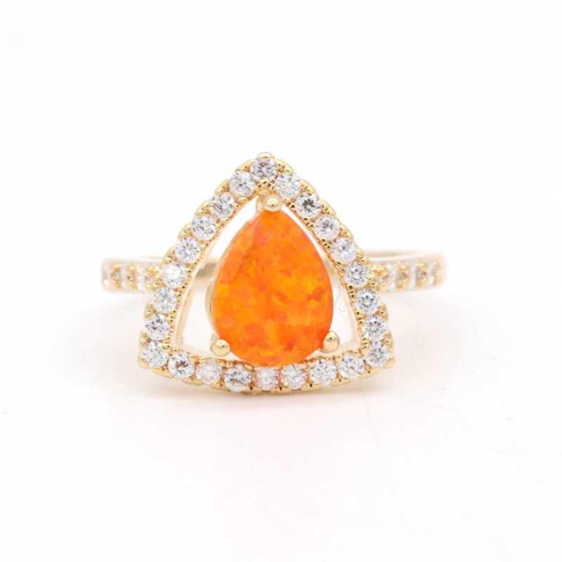 GZJY оранжевый огонь цвет опалового золота серьги кольцо Набор для женщин модные свадебные обручение вечерние ювелирные изделия