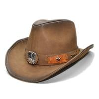 LUCKYLIANJI High Quality Leather Retro Vintage Women's Men's Wide Brim Sun Beach Cowboy Cowgirl Western Hat (One Size 58cm)