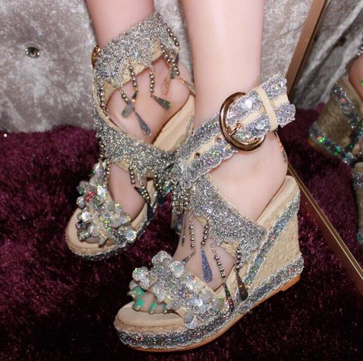 Doce Corda Trançada de Cristal Borla Sandálias de Cunha Mulher Sapatos de Verão Cut-out Vestido de Tiras Cruzadas Sapatos de Plataforma com Tira No Tornozelo sandálias
