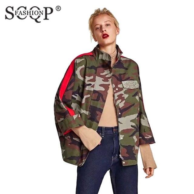 Camouflage Montant Longues Mode Manches Veste Scqp Femmes Col À Eqnx8W1d