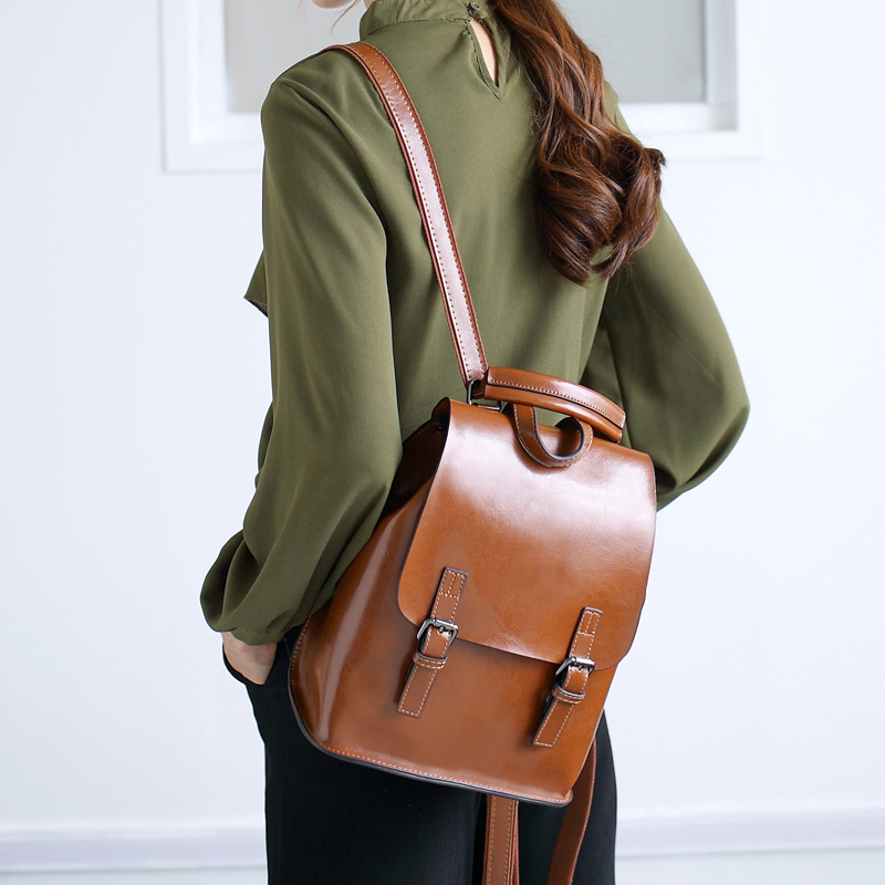 4 Colors 100% Genuine Leather Women's Backpack Female Real First Layer Cow Leather Ladies' Backpacks Travel Ipad Cowhide Bags