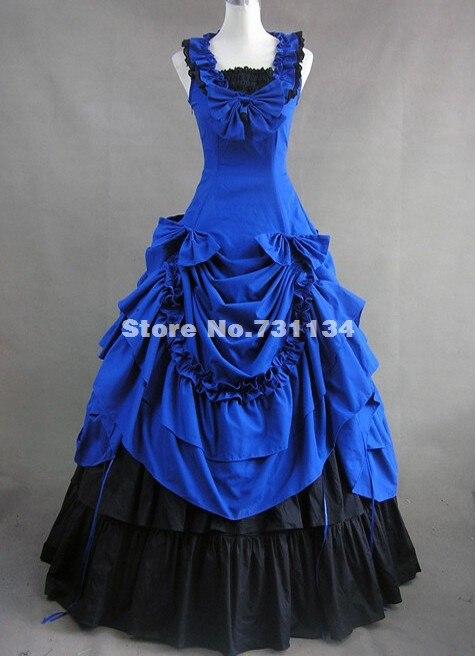Синий хлопок викторианской Southern Belle бальное платье воссоздание театр костюм высокого качества