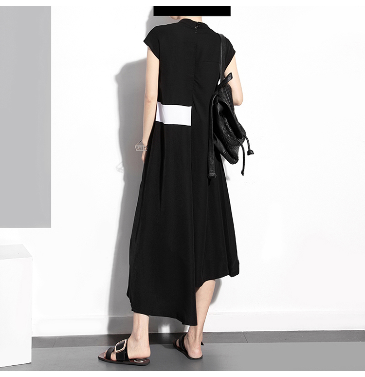 New Fashion Style Sleeveless Asymmetrical Patches Dress Fashion Nova Clothing