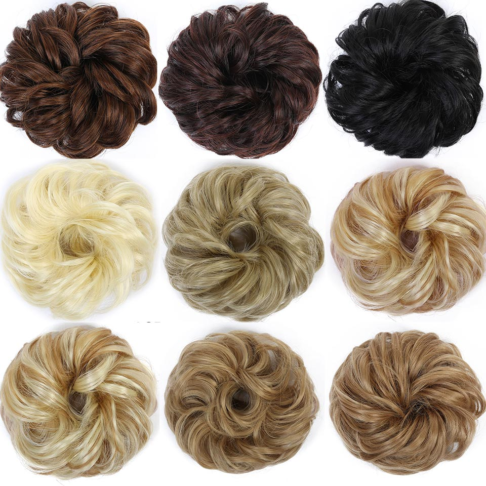 DIFEI Curly Chignon Hair-Extension Donut-Hairpieces Rubber-Band Updo Synthetic-Hair Heat-Resistant