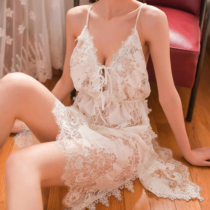 2019 Deep V Neck Ladies Sexy Lingerie Lace Cutout Night Dress Sleeveless Nighties Nightgown Sleepwear Nightwear Women Nightshirt