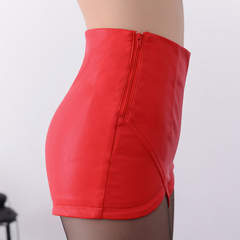 2019 New Fashion Summer Women's Sexy Black Red PU High Waist Shorts Vintage Slim Slit High quality size S-2XL Leather Shorts 6