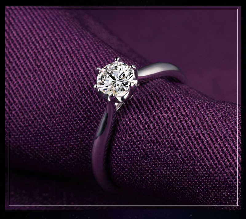 Yanhui luxo 1 quilates solitaire anel original 925 anéis de casamento de prata sólida para mulher real 6mm zircon cz anéis de noivado jz040