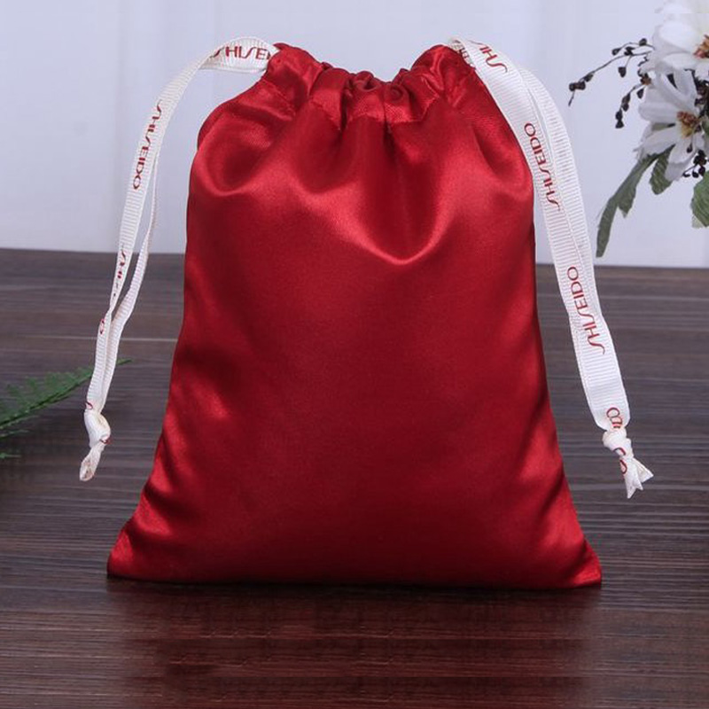 100pcs satin drawstring bags custom jewelry gift pouches 18 18cm and 3 roll 300 yard ribbon