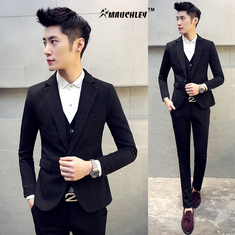 2017 Jackets+Pants+Vest 3Pieces Men Prom Suit Linen Slim ...