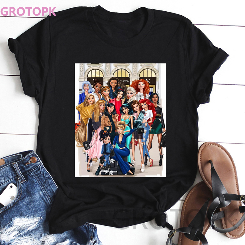 Modern Fashion Princess Black T Shirt Women Clothes Summer Casual Cartoon Print Polyester Tshirt Harajuku Tops Vogue T-shirt