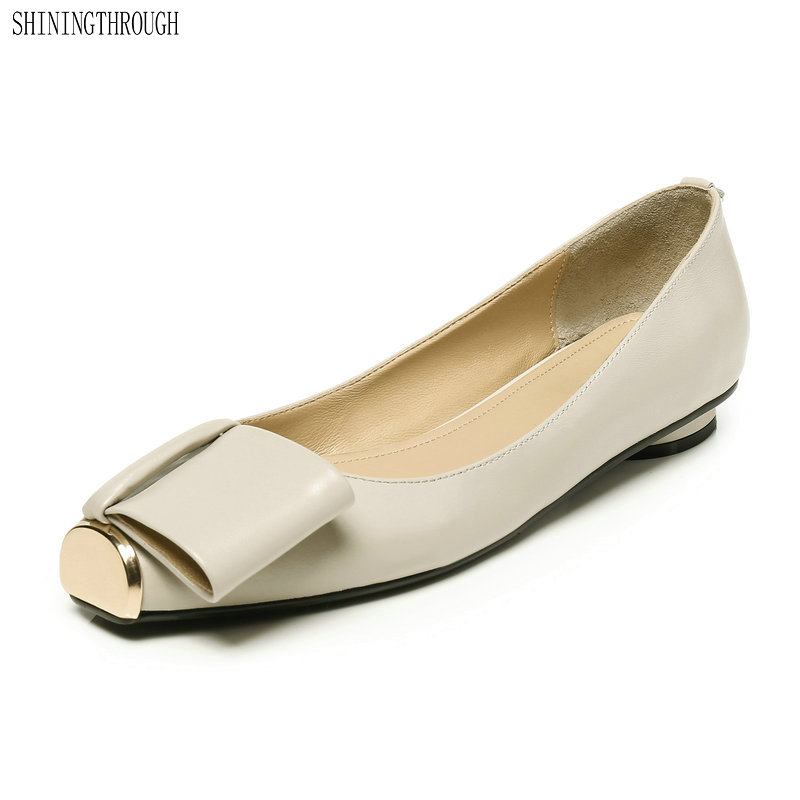 New Women genuine leather flat shoes Ladies ballet flats summer shoes sexy metal toe dress shoes woman large size 43