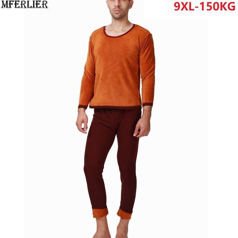 MFERLIER hiver hommes sous-vêtement thermique bas épais homme Long Johns chaud polaire grande taille grand 5XL 6XL 7XL 8XL 9XL sous-vêtements hauts