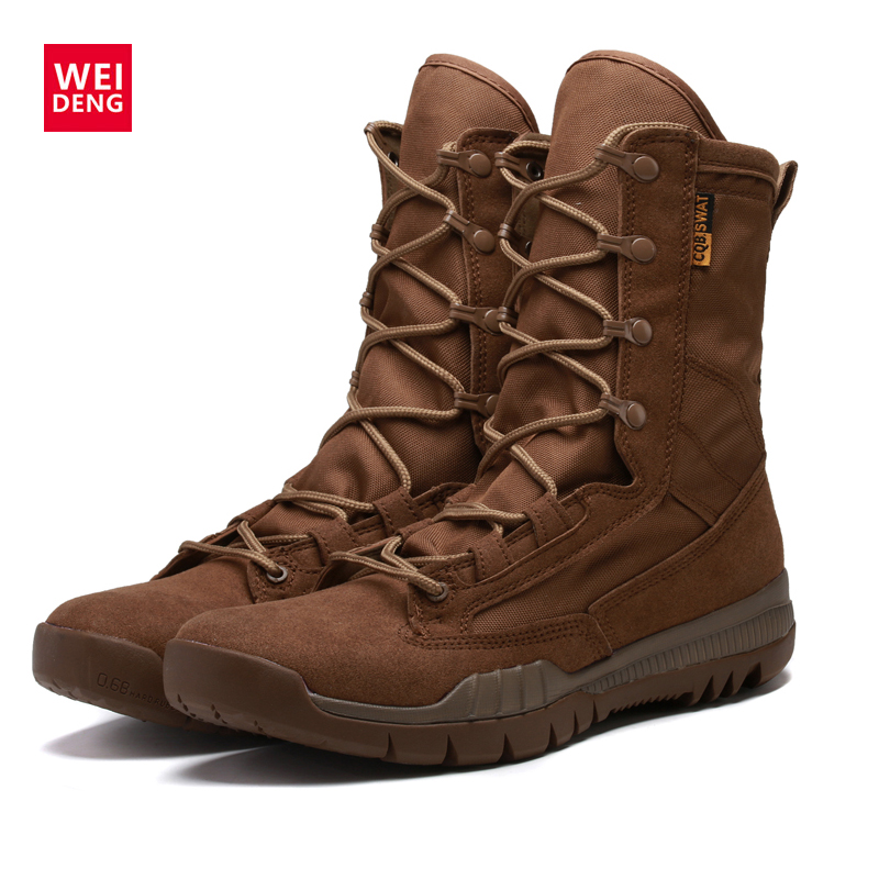 WeiDeng Autumn&Winter Men Military Martin Boots Leather Ankle Motorcycle Boots Equestrian Boots Men Shoes Lace Up Warm High Male 2016 new martin male autumn and winter genuine leather platform medium leg mens equestrian vintage motorcycle boots