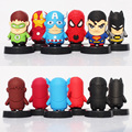 6pcs/set Cute SuperHero The Avengers Spider man  Iron Man Batman Captain America Green Lantern PVC Figure Toys Free Shipping