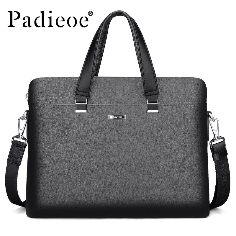 Padieoe Luxury Business Men s Briefcase High Quality Durable PVC Documents Laptop Bag Fashion Dress Men