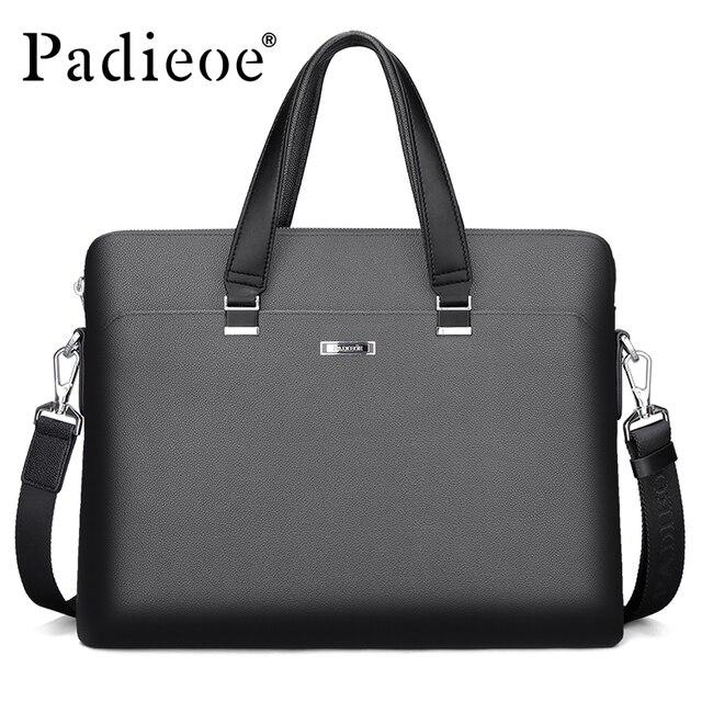 Padieoe Luxury Business Men's Briefcase High Quality Durable PVC Documents Laptop Bag Fashion Dress Men Office Portfolio Bag