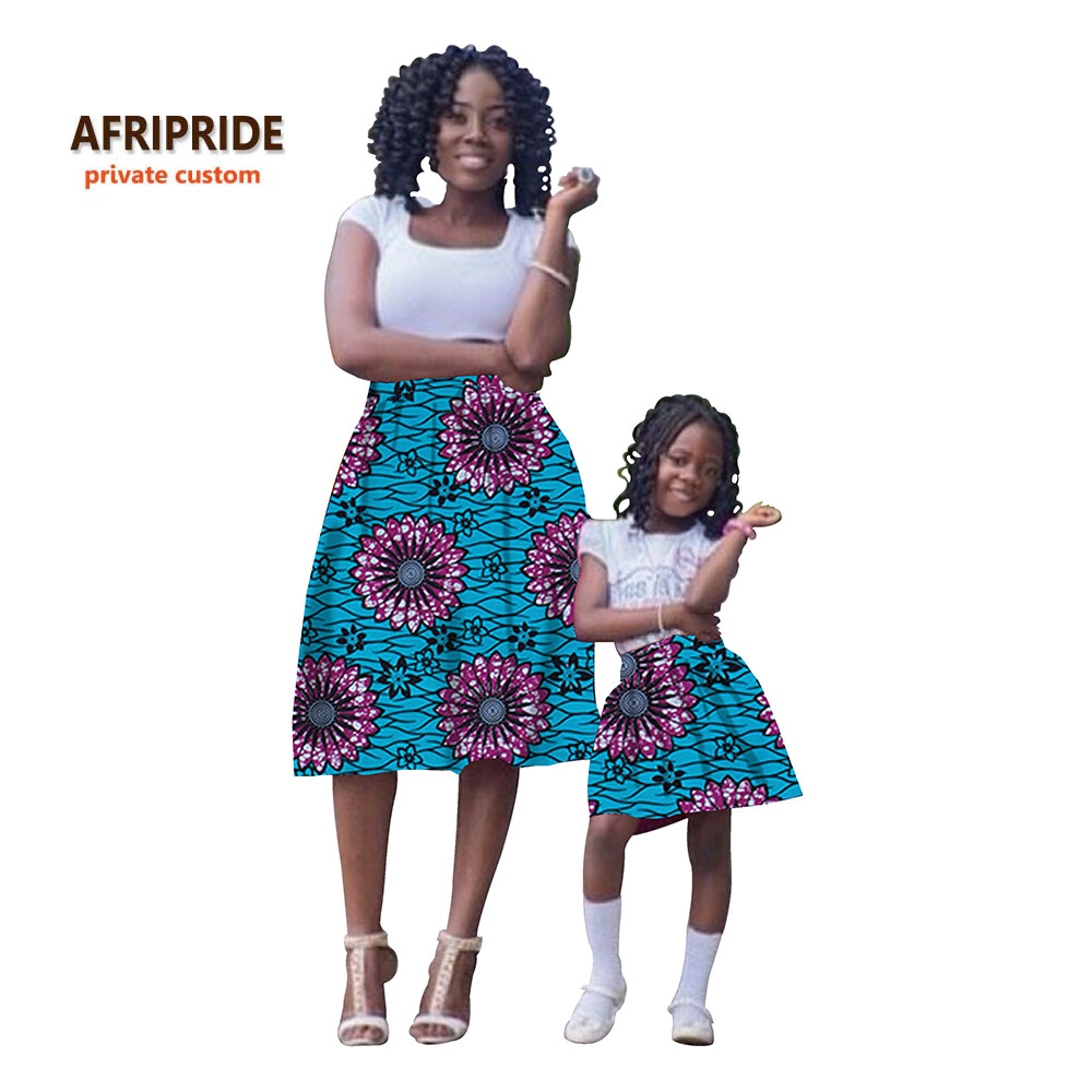2019 아이 드레스와 여성을위한 아프리카의 복장 패션 커플 의류 인쇄 면화 왁스 일치하는 어린이 여름 더하기 sizeA72F01