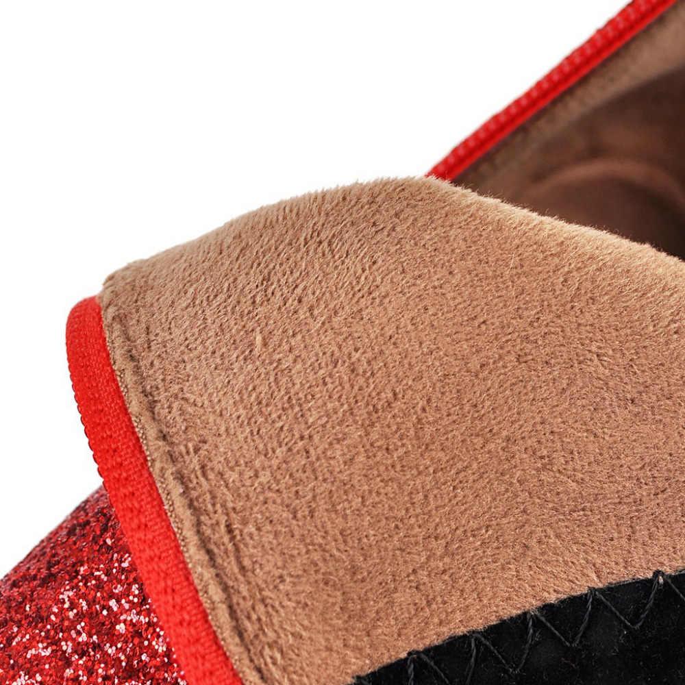 Châu Âu Nhà Thiết Kế Thương Hiệu Nữ Mắt Cá Chân Gót Đi Nữ Người Phụ Nữ Mùa Thu Lấp Lánh Phối Ren Giày Casual Màu Hồng