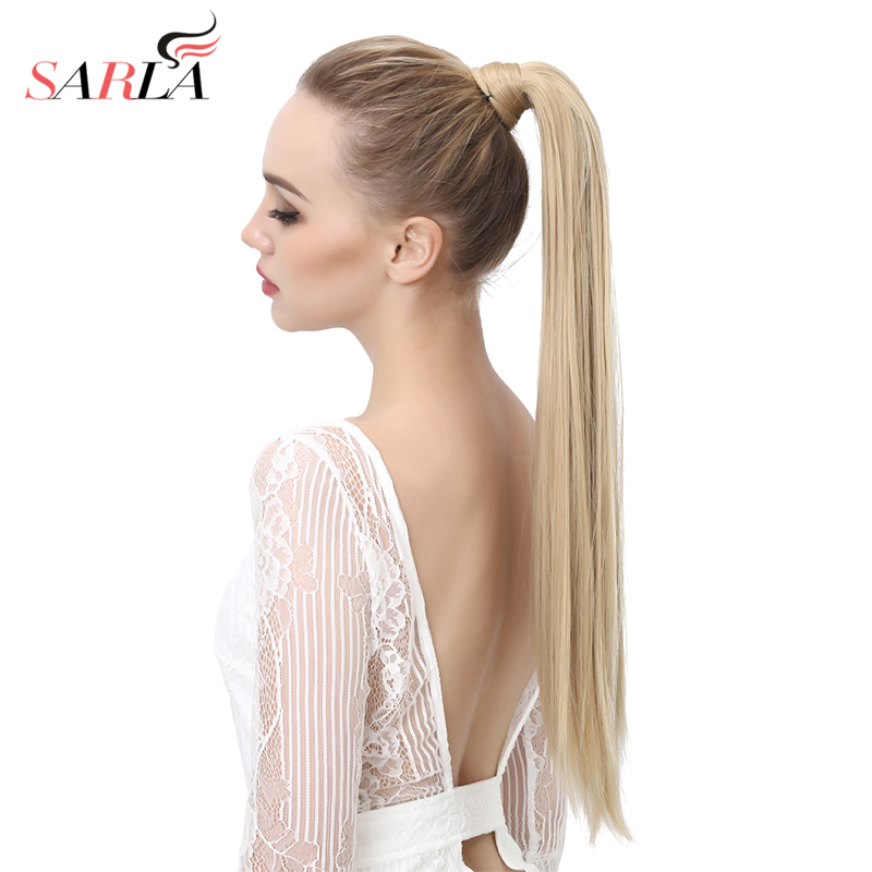 SARLA Long Straight 24 28 Synthetic Wrap Around Ponytail Hair Extensions High Temperature Fiber Clip in