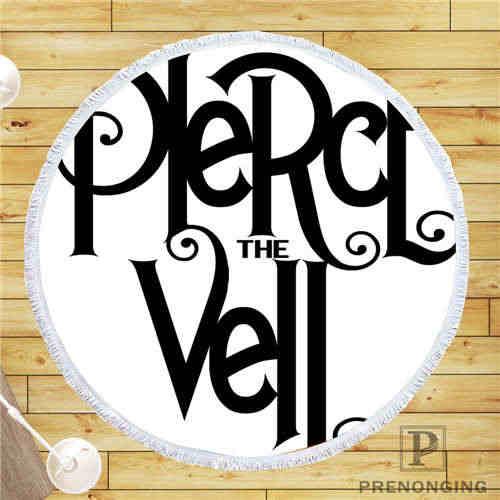 カスタム Diy カスタマイズされたマイクロファイバー生地 pierce_the_veil_logo ラウンドビーチブランケットタオルプリントオンデマンド 150 センチメートル #19-01- 28-3-96