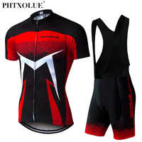 Phtxolue 2019 Summer Short Sleeve Men Cycling Clothing Breathable Bike Jerseys Set Mountain Bicycle Wear Maillot Ropa Ciclismo